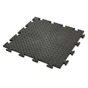 Black Diamond Chequer plate interlocking easy fit tough garage flooring tile covering