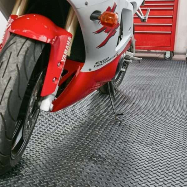 Interlocking Checker plate garage flooring tile in black for cars motorcycles and heavy duty use