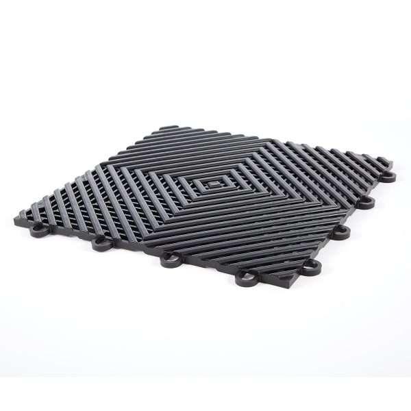 Vented ribbed self draining black mats