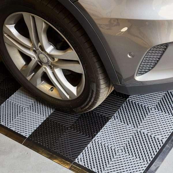Vented draining garage flooring mats UK for detailers