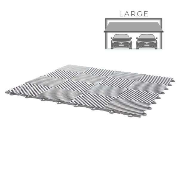 Grey vented ribbed self draining large double garage flooring pack for wet areas PP plastic waterproof garage floors direct uk
