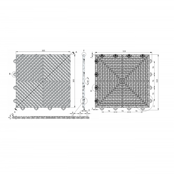 Vented Floor tile technical drawing