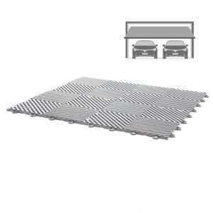 grey vented ribbed self draining double garage flooring pack for wet areas PP plastic waterproof garage floors direct uk