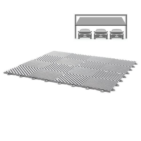 grey vented ribbed self draining triple garage flooring pack for wet areas PP plastic waterproof garage floors direct uk