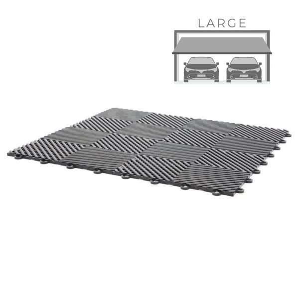 vented ribbed self draining large double garage flooring pack for wet areas PP plastic waterproof garage floors direct uk