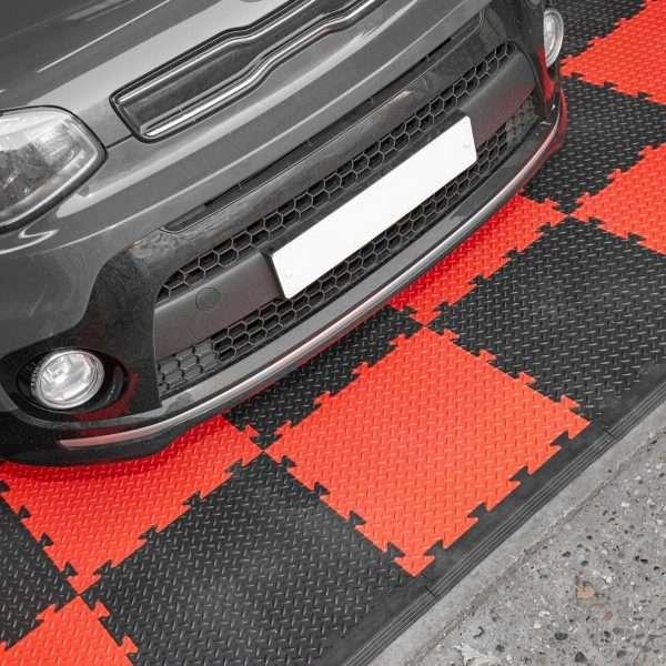 Red and black checker garage floor tiles UK