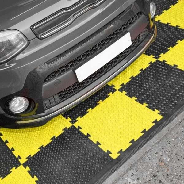 Yellow and black checker garage floor tiles UK