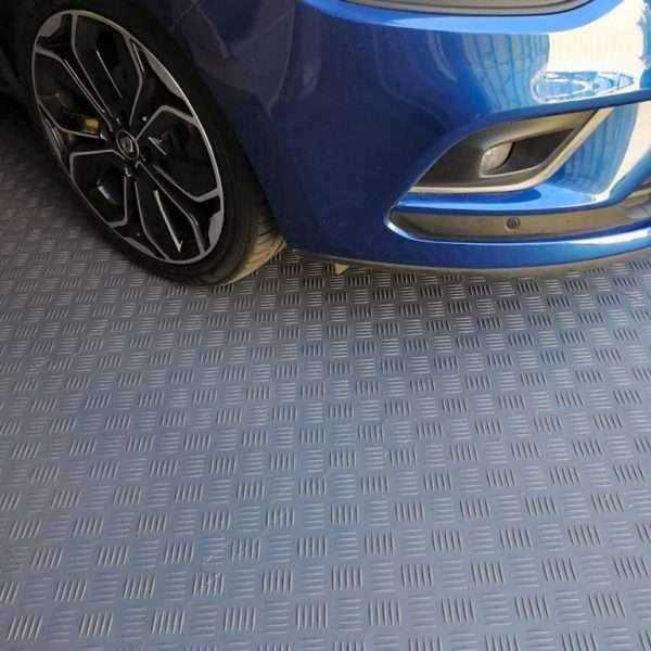 Durbar plate diamond dark grey tile closeup for sheds, garages and workshop concrete floors